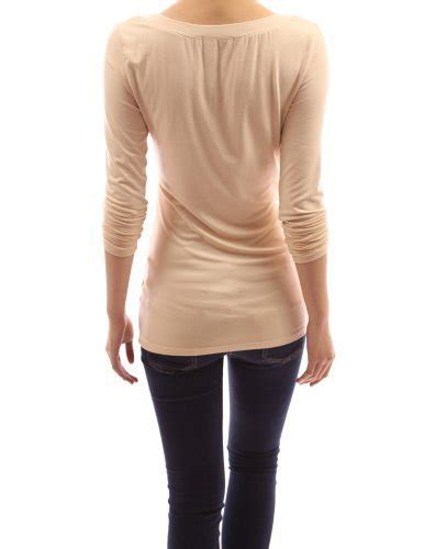 aesthetic official pattyboutik y neck sleeve pullover stretch blouse top deep chagne m