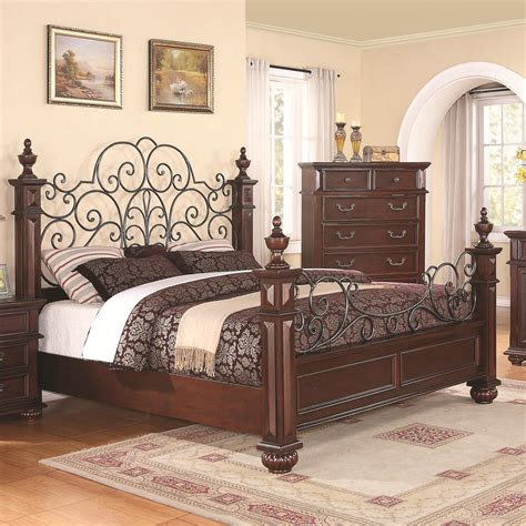 Wrought Iron And Wood King Headboard by Low Wood Wrought Iron King Size Bed Home