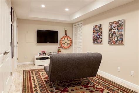 small tv room ideas small basement tv room with a lovely rug and a small sofa decoist