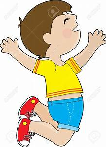 Jump clipart excited boy - Pencil and in color jump ...