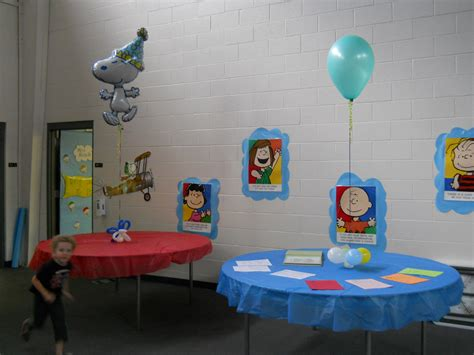 Snoopy Balloon Arch And Table Decorations  Celebrate The
