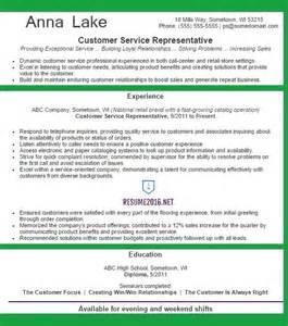 Top Resume Services 2016 by Customer Service Representative Resume Exle 2016