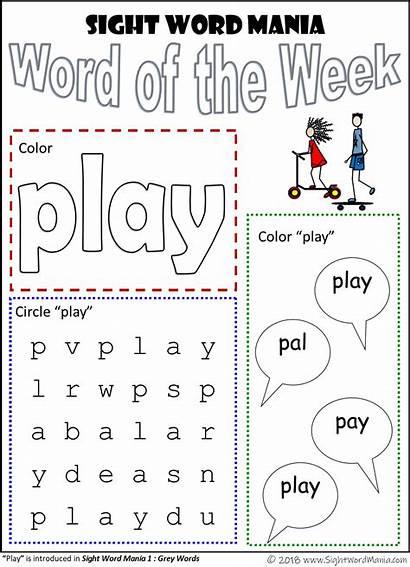 Word Sight Play Words Worksheets Mania Week