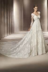 ivory wedding gowns classic ivory lace v neck wedding dress with sleeves onewed