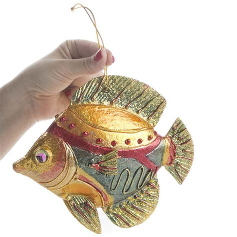 bejeweled artisan fish ornaments coastal decor home decor