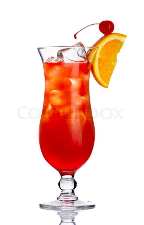 red martini red alcohol cocktail in with orange slice isolated stock