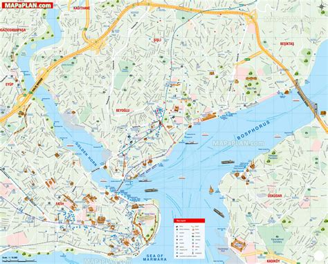 istanbul map detailed street names english travel guide