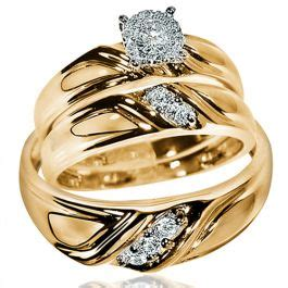 his her wedding rings set 10k yellow gold round solitaire