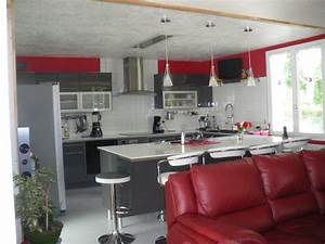 Cuisine grise et rouge photo 1 5 3511412 for Idee deco cuisine avec cuisine blanc et gris anthracite