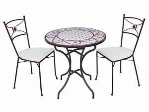 Tables Rondes De Jardin : table de jardin ronde cm guell en mosaic et m tal ~ Premium-room.com Idées de Décoration