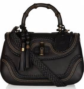 Black Leather Bamboo Gucci Bag
