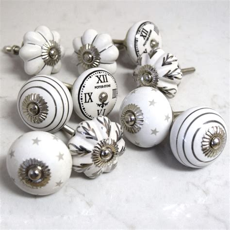 shabby chic door knobs unique home accessories homeware and decor set of 10 ceramic grey white black silver vintage