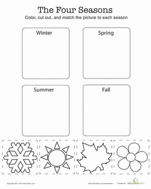match the four seasons worksheet education 679 | match seasons weather seasons kindergarten
