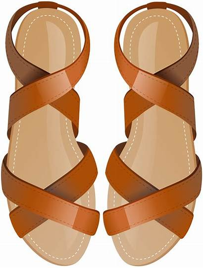 Sandals Clip Brown Clipart Sandas Shoes Library