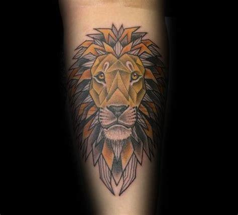 geometric lion tattoo designs  men masculine ideas