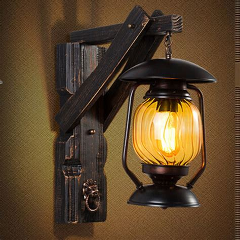 aliexpress com buy creative vintage iron wood lantern
