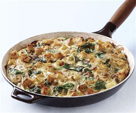 Mushroom And Spinach Skillet Strata  Recipe Finecooking