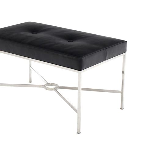 Black X Bench by Black Leather Upholstered Rectangular X Base Bench For