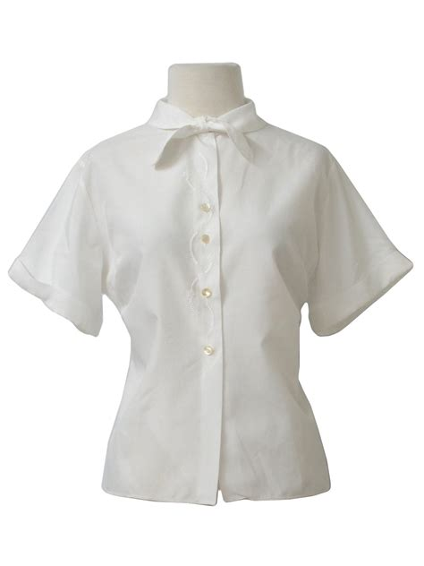 50s blouse the pilot blouse 1950s vintage shirt 50s style made in