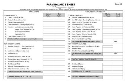 farm balance sheet template excel  rtf