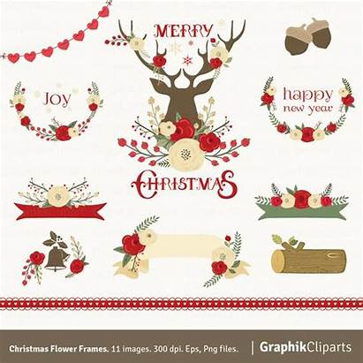 Christmas Clipart Rustic Flower Flowers Floral Frames