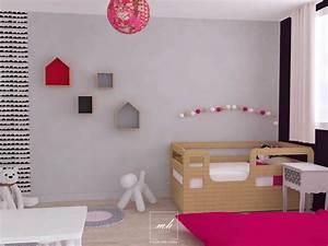 peinture chambre fille rose et gris With chambre enfant gris et rose