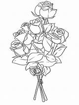 Coloring Bouquet Flower Pages Flowers Roses Print Template Templates Recommended Boquet sketch template