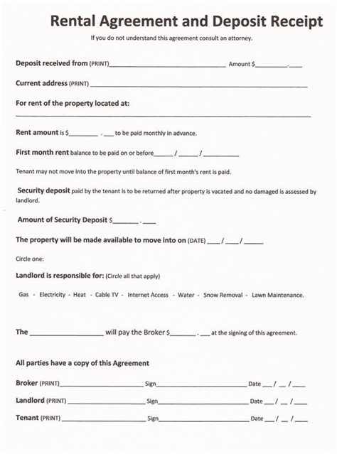 rental forms  print   printable rental