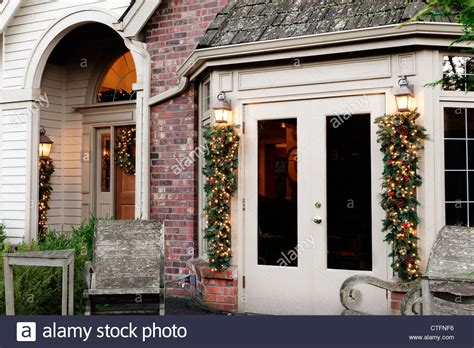 outdoor christmas decorations  french doors porch