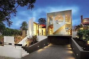 exterior futuristic and minimalist glass house exterior With exterior house lighting australia