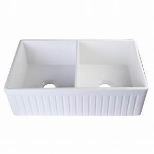 alfi brand fluted farmhouse apron fireclay 32 in double With 32 inch white farmhouse sink