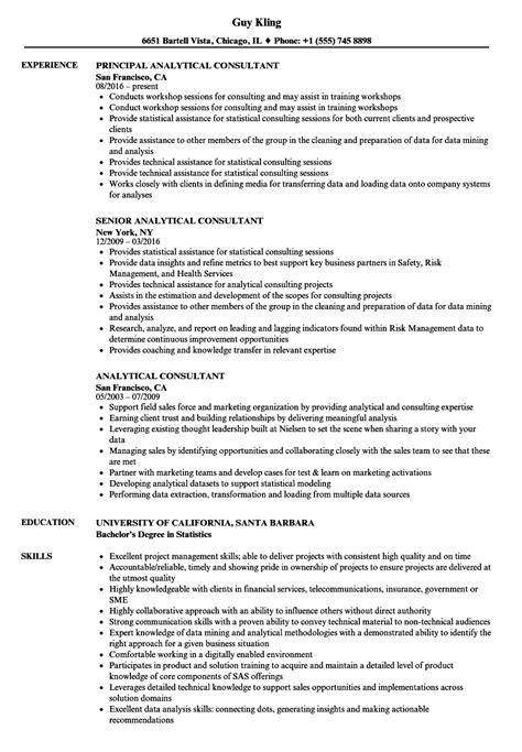 Resume For Analytics by Analytical Consultant Resume Sles Velvet