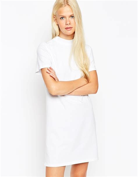 t shirt dresses lyst asos t shirt dress with high neck in white