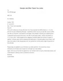 Offer Thank You Letter Sle by Sle Offer Thank You Letter Hashdoc