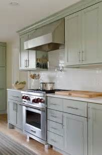 Green Kitchen White Cabinets by Soothing Green Kitchen Features Green Cabinets Paired