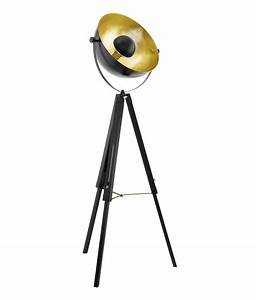 Floor lamp with tripod legs and a parabolic reflector for Black tripod spotlight floor lamp gold inner