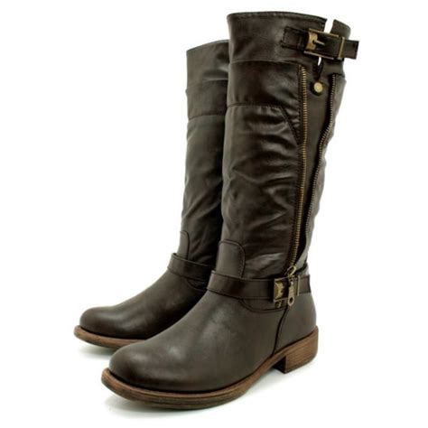 womens biker boots fashion womens brown leather style biker buckle zip knee boots