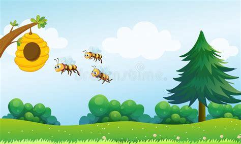 een bijenkorf en de drie bijen vector illustratie illustratie bestaande uit gift habitat