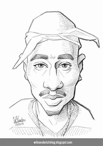 2pac Caricature Sketch Tupac Coloring Pages Colouring