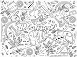 Coloring Drugs Colorear Boek Vectorillustratie Stockillustratie Depositphotos Spuit Dokter Gekke Medical Vectors Inyeccion sketch template