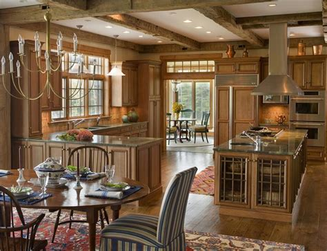 best idea of rustic country kitchen with chandeliers