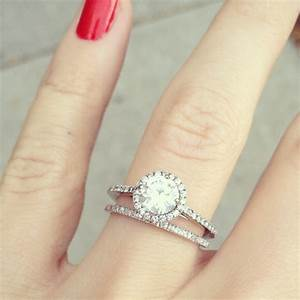 round diamond with halo ring narrow shank and matching With wedding ring thin band