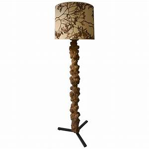 unique and highly decorative congolese hardwood tree trunk With floor lamp tree trunk base