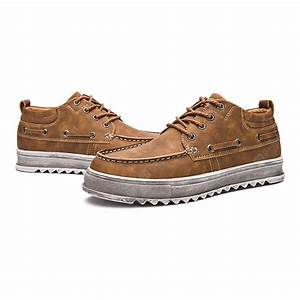 Buy Male Trendy Stitching Anti Slip Casual Leather Shoes