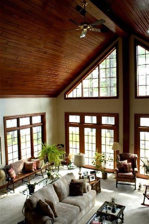 love    room cathedral ceilings  wood work  windows  cozy