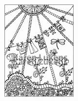 Coloring Clothes Line Adult Printable Pages Instant Etsy Books Colouring sketch template