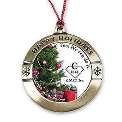 round happy holiday custom photo art christmas ornament personalized christmas ornament
