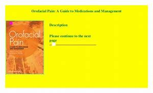 Orofacial Pain A Guide To Medications And Management Epub