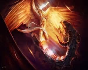 Angel Michael Fighting Dragon