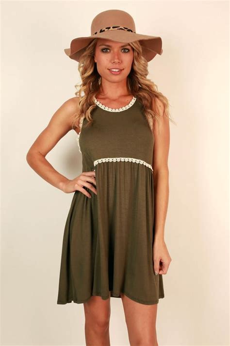 fashion queen shift dress  army green impressions
